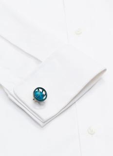 Tateossian 水硅钒钙石镀铑纯银袖扣