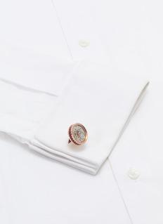 TATEOSSIAN 金属齿轮搪瓷镀玫瑰金袖扣
