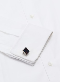 TATEOSSIAN 拼色格纹图案真皮钛金属袖扣