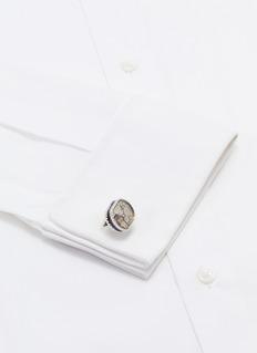 TATEOSSIAN 金属齿轮搪瓷镀铑纯银袖扣