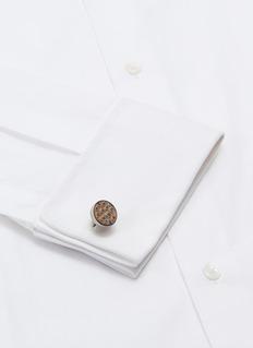TATEOSSIAN 拼色鳞片图案真皮钛金属袖扣