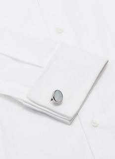 TATEOSSIAN Guilloché图案珍珠母贝镀铑金属袖扣