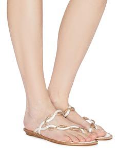 René Caovilla 仿水晶搭叠波浪搭带夹脚凉鞋