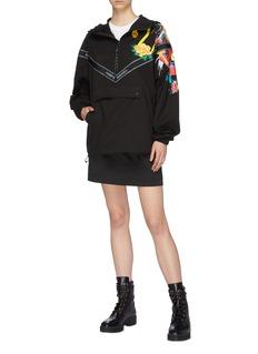 Angel Chen 品牌名称条纹锦鲤牡丹印花连帽夹克