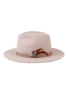 Mossant 羽毛蝴蝶结帽带毛毡帽