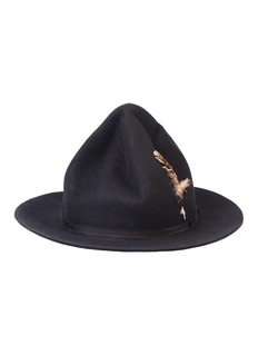 Mossant 穿插羽毛罗缎帽带毛毡帽