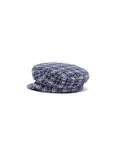 MAISON MICHEL New Abby金属链条闪亮粗花呢水手帽