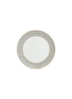 André Fu Living Vintage Modern几何图案围边陶瓷餐盘-灰蓝色及金色
