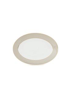 André Fu Living Vintage Modern大号椭圆形几何图案陶瓷上菜盘-米色及金色