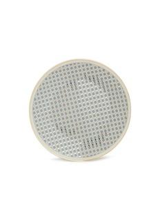 André Fu Living Vintage Modern大号圆形几何图案陶瓷上菜盘-灰蓝色及金色