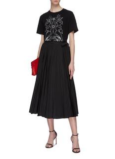Valentino 系带百褶塔夫绸半裙