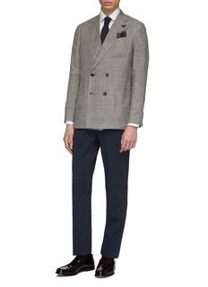 Lardini 千鸟格双排扣丝混亚麻西服外套
