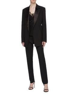Victoria Beckham 蕾丝拼接交叉露背真丝吊带上衣