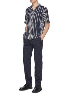 Dries Van Noten x Verner Panton Peeler拼色波浪纹修身亚麻混棉长裤