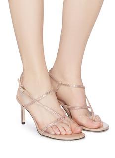PEDDER RED Carly仿水晶搭带PVC拼接高跟鞋