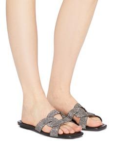 Pedder Red Cameron仿水晶交叉串联搭带拖鞋