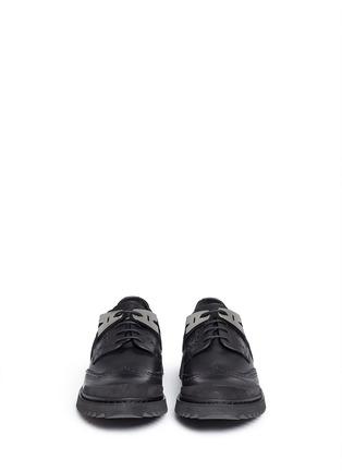 正面 - 点击放大 - NEIL BARRETT - MOLECULAR HYBRID金属片雕花装饰德比鞋