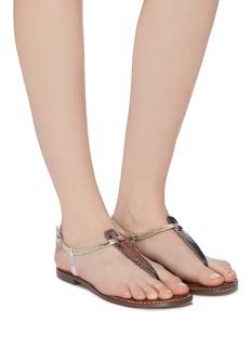 Sam Edelman Gigi拼色金属感蛇纹真皮夹脚凉鞋