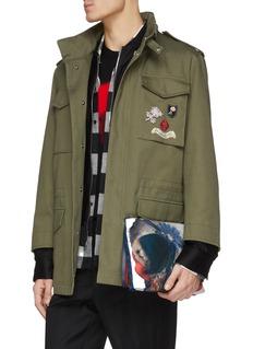 Alexander McQueen 抽象骷髅头花卉图案手拿包
