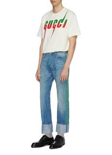 Gucci 拼色尖刺logo印花oversize T恤
