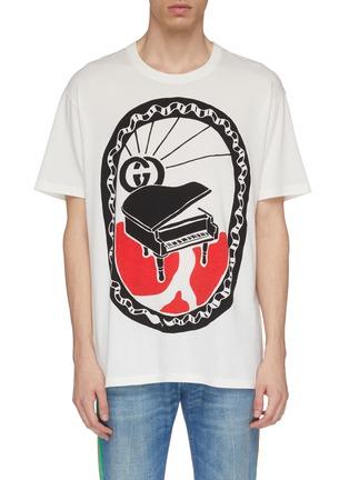 首图 - 点击放大 - GUCCI - 双G标志钢琴印花oversize T恤