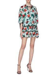 alice + olivia Arnette蕾丝条纹花卉印花连衣裙