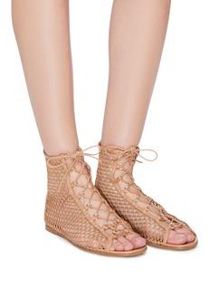 Gianvito Rossi Ngiprlp镂空编织渔网系带凉鞋