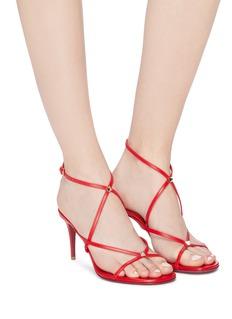 Valentino 铆钉点缀真皮交叉搭带高跟凉鞋