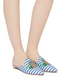 AQUAZZURA 立体菠萝缀饰条纹尖头拖鞋