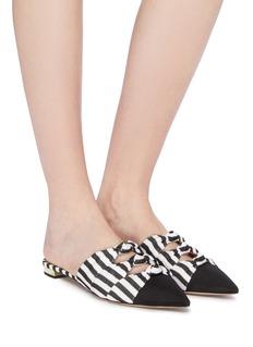 AQUAZZURA Mondaine拼色条纹扭结穆勒鞋