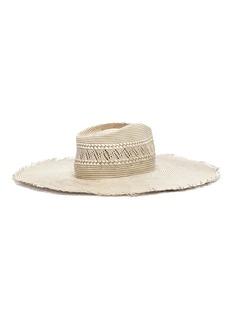 Gladys Tamez Belle可折叠式几何条纹编织稻草帽