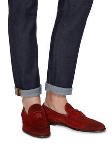 Doucal's Pana流苏装饰绒面真皮乐福鞋