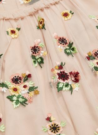 - Needle & Thread - Magdalena荷叶边花卉刺绣网纱上衣