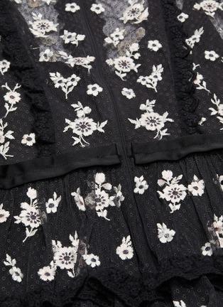 - NEEDLE & THREAD - Monochrome Ditsy木耳边花卉刺绣波点网纱连衣裙