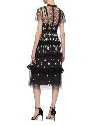 背面 - 点击放大 - NEEDLE & THREAD - Monochrome Ditsy木耳边花卉刺绣波点网纱连衣裙