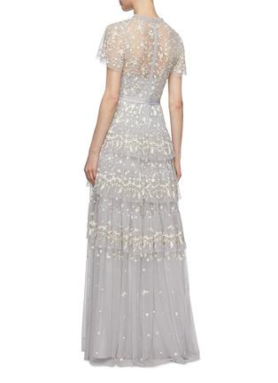 背面 - 点击放大 - Needle & Thread - Angelica花卉刺绣层叠木耳边网纱礼服裙