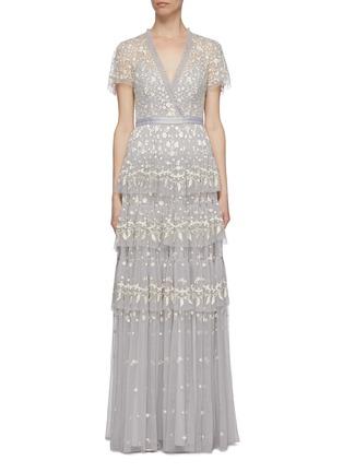 首图 - 点击放大 - Needle & Thread - Angelica花卉刺绣层叠木耳边网纱礼服裙