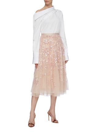 模特儿示范图 - 点击放大 - Needle & Thread - Valentina亮片花卉网纱半裙