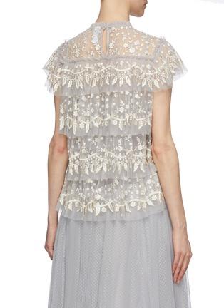 背面 - 点击放大 - Needle & Thread - Angelica花卉刺绣层叠木耳边网纱上衣