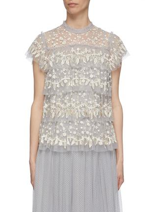 首图 - 点击放大 - Needle & Thread - Angelica花卉刺绣层叠木耳边网纱上衣