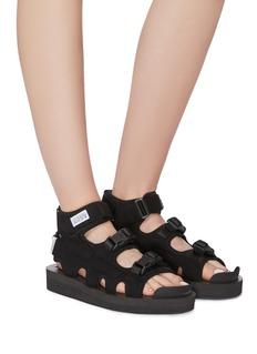 SUICOKE BOAK-V绒面皮拼接尼龙搭带凉鞋