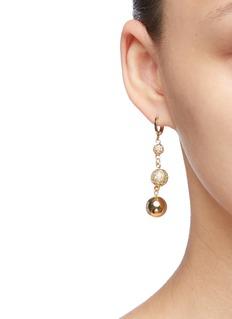 MOUNSER Droplette仿水晶镀金圆球不对称耳环
