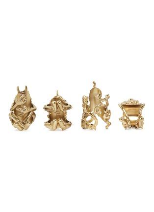 - L'OBJET - x Haas Brothers Monster Ball黄铜餐巾环套装-金色