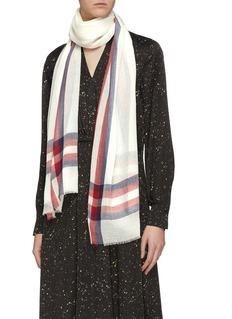 Janavi 拼色条纹超细美丽诺羊毛围巾