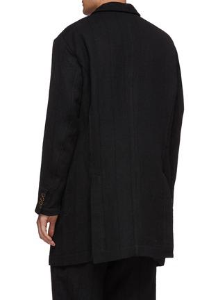 背面 - 点击放大 - Uma Wang - 青果领双排扣初剪羊毛混亚麻及棉大衣