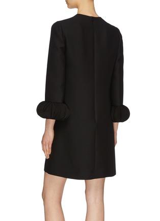 背面 - 点击放大 - Valentino - Pagine搭叠荷叶边袖口初剪羊毛混丝小黑裙