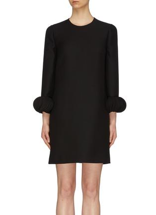 首图 - 点击放大 - Valentino - Pagine搭叠荷叶边袖口初剪羊毛混丝小黑裙