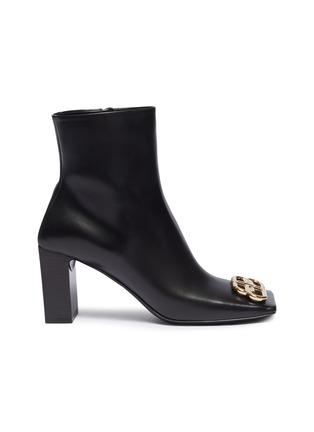首图 - 点击放大 - Balenciaga - BB金属缀饰真皮方头粗跟短靴