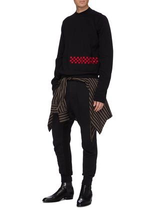 模特儿示范图 - 点击放大 - Haider Ackermann - 格纹刺绣纯棉针织衫