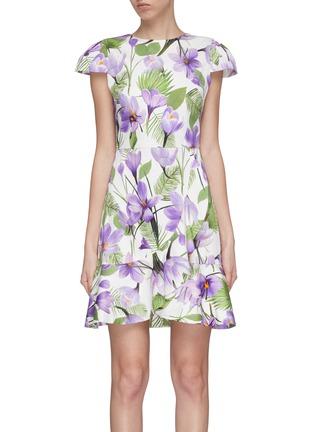首图 - 点击放大 - alice + olivia - Kirby荷叶边花卉图案连衣裙